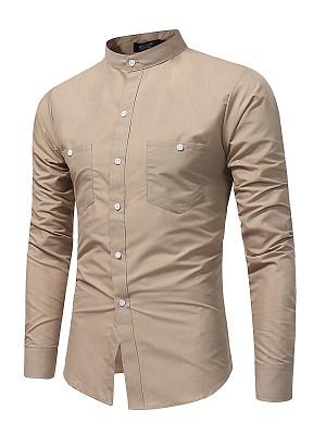 Men Band Collar Patch Pocket Plain Shirts