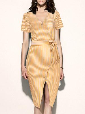 V Neck Single Breasted Slit Striped Bodycon Dress