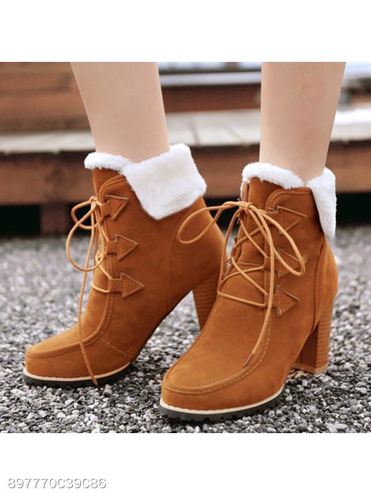 a78e67932181b Plain Chunky High Heeled Velvet Round Toe Date Outdoor Short High Heels  Boots - berrylook.com