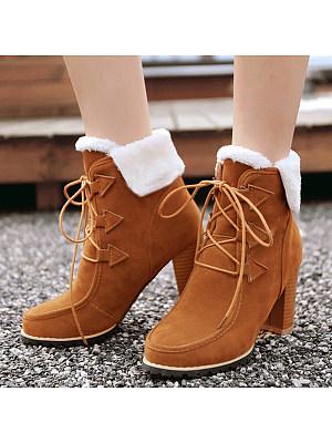 Plain Chunky High Heeled Velvet Round Toe Date Outdoor Short High Heels Boots, 5880401