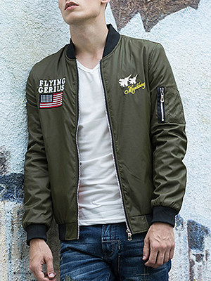 Band Collar Embroidery Printed Men Bomber Jacket