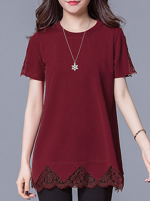 BERRYLOOK / Round Neck  Patchwork  Lace Plain Blouses
