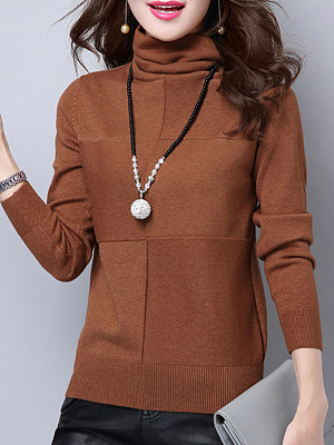 Heap Collar  Patchwork  Brief  Plain  Long Sleeve  Knit Pullover