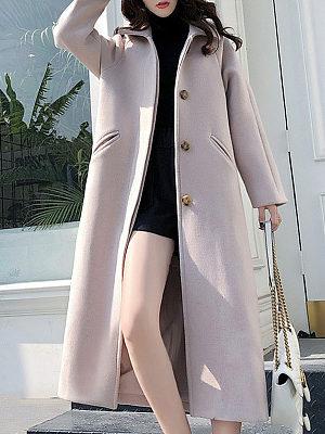 Fold Over Collar  Single Breasted  Plain Coat