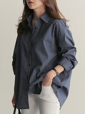 Button Down Collar  Loose Fitting  Stripes Blouses