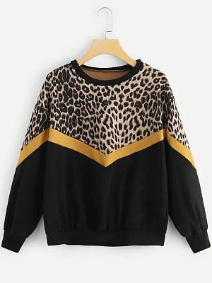 Round Neck  Leopard Patchwork Sweatshirt