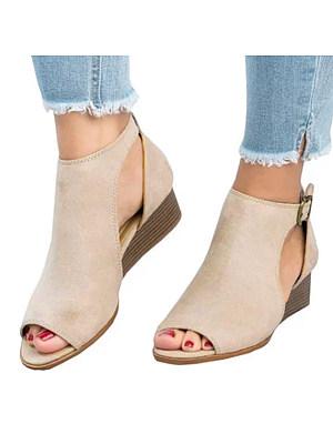 Plain  Mid Heeled  Velvet  Ankle Strap  Peep Toe  Casual Peep-Toe Wedges