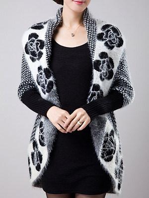Patchwork  Elegant  Floral  Long Sleeve  Knit Cardigan