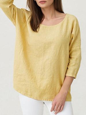 Round Neck Patchwork Brief Plain Three-Quarter Sleeve T-Shirts, 8143047
