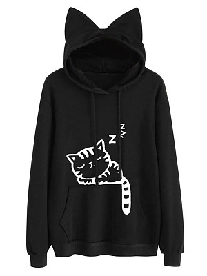Cute Cat Printed Kangaroo Pocket Hoodie collar_&_neckline:hooded, embellishment:kangaroo pocket, material:blend, occasion:casual*vacation, pattern_type:cartoon,print, season:autumn*spring, package_included:top*1, cloth length:64,sleeve length:58,bust:110,