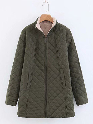 Band Collar  Quilted  Plain Coat