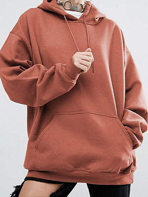 Casual Plain Long Sleeve Hoodie фото