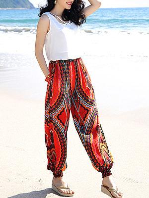 Pocket Elastic Waist Printed Casual Harem Pants, 3738390