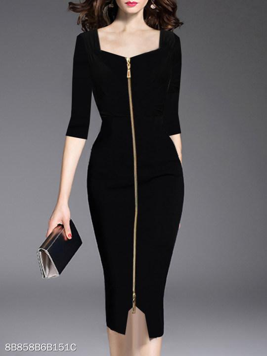Asymmetric Neck Slit Zips Plain Bodycon Dress