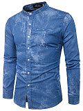 Band Collar Denim Men Shirts