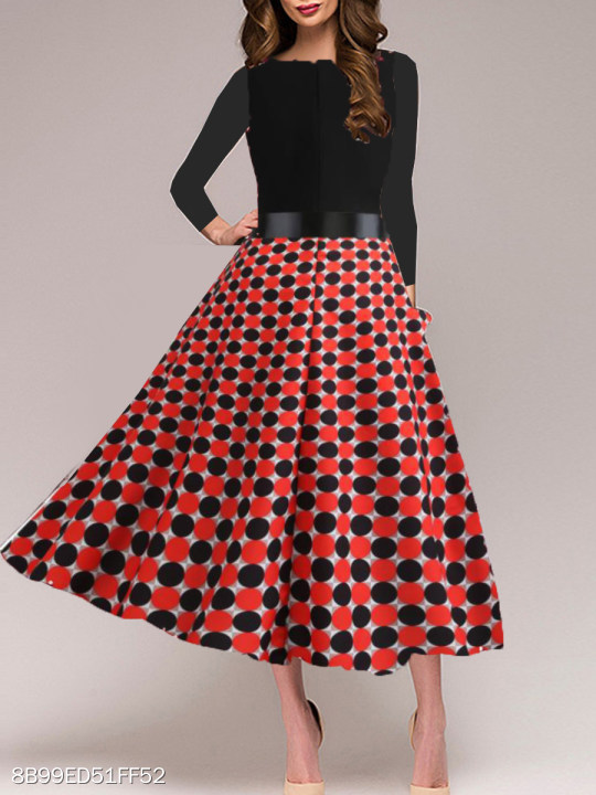 Round Neck Polka Dot Skater Dress - Polka Dot Dress