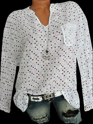 V Neck Patchwork Elegant Lace Polka Dot Long Sleeve Blouse, 8474473