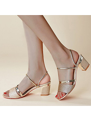 Plain Chunky High Heeled Peep Toe Casual Date Sandals фото