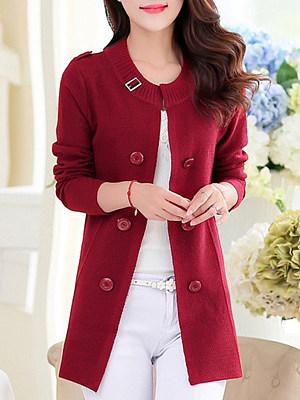 Round Neck Elegant Plain Long Sleeve Knit Cardigan, 9135775