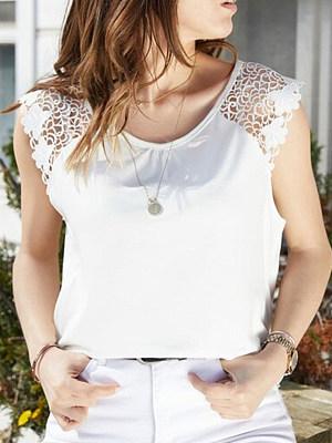 Round Neck Patchwork Lace Plain Sleeveless T-Shirts, 6979486