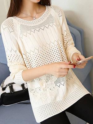 Round Neck Patchwork Elegant Plain Long Sleeve Knit Pullover, 8156358