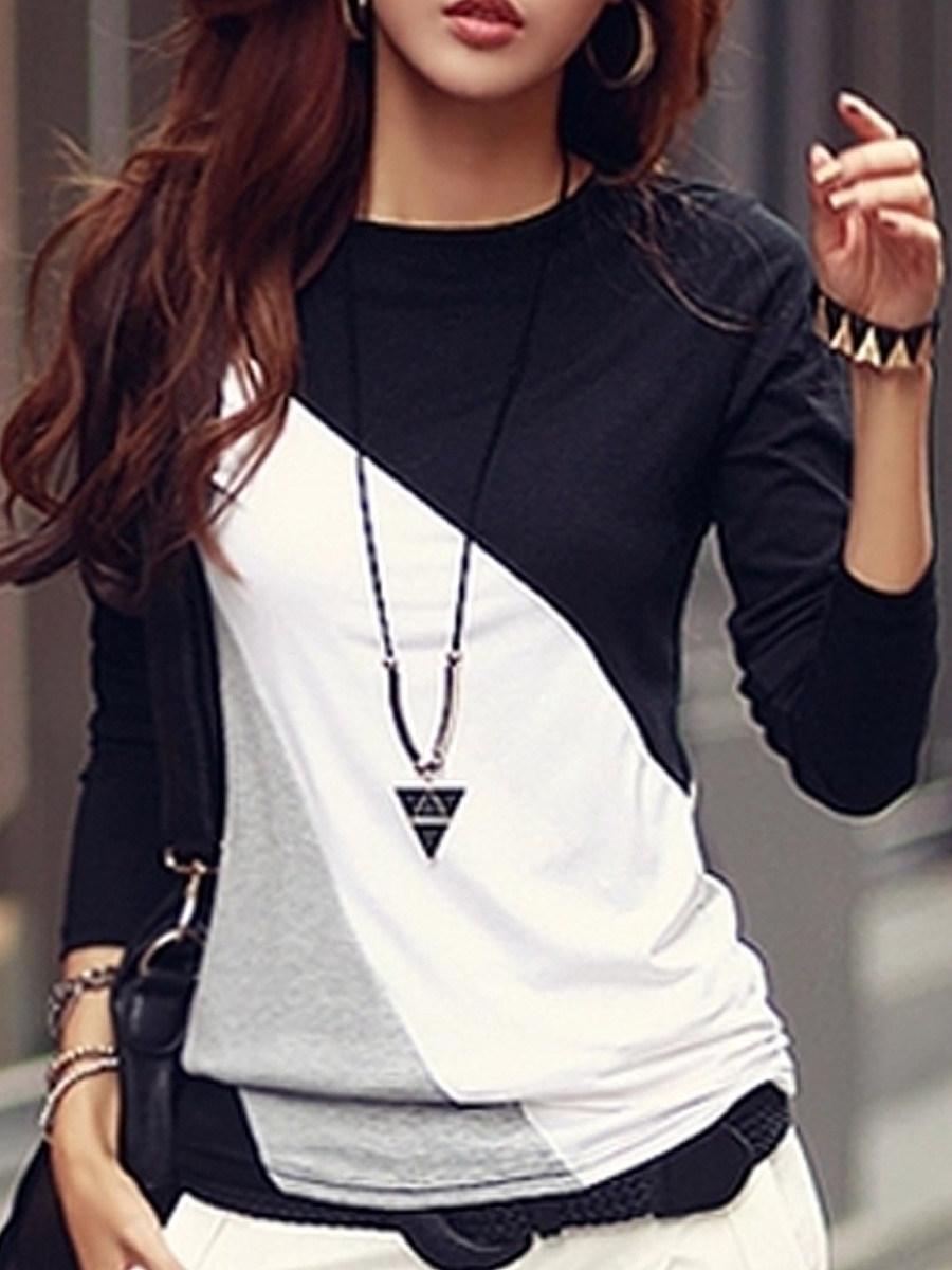 Autumn Spring  Cotton Blend  Women  Round Neck  Color Block Long Sleeve T-Shirts