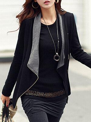 Lapel Pocket Zips Blazer