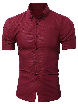 Button Down Collar Plaid Plain Men Shirts фото