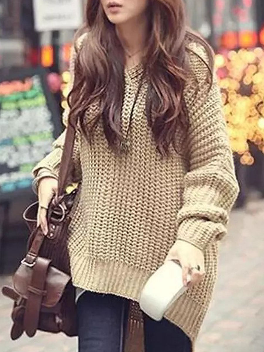 Hooded  Asymmetric Hem  Hollow Out  Long Sleeve Pullover