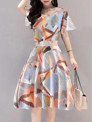Round Neck Print Shift Dress