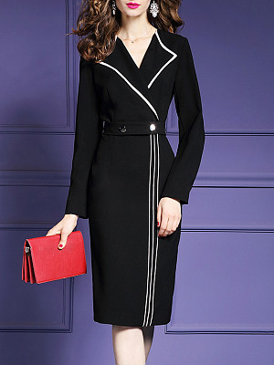 Fold-Over Collar Plain Bodycon Dress, 5337232