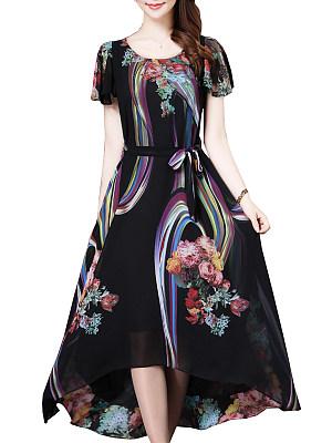 Round Neck Print Maxi Dress, 6493861