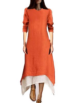 Round Neck Color Block Maxi Dress фото