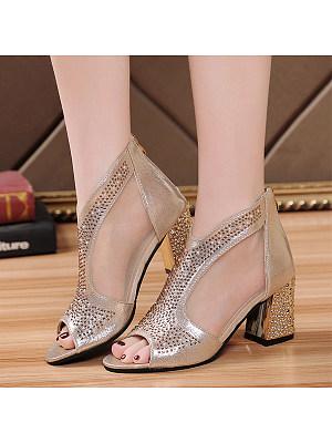 Plain  High Heeled  Peep Toe  Date Outdoor Peep-Toe Heels