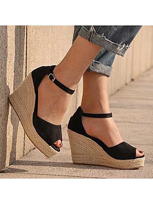 Plain High Heeled Velvet Ankle Strap Peep Toe Date Wedge Sandals, 4854146