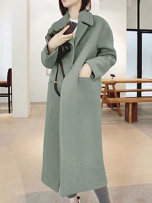 Longline Lapel Single Button Plain Pocket Woolen Coat, 3946011