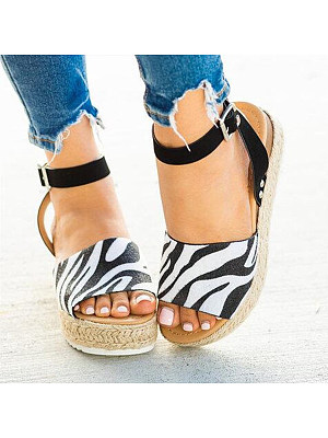 Animal Printed Peep Toe Sandals, 8694025