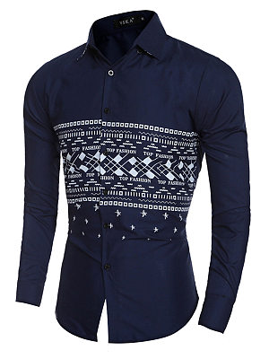Fitted Printed Turn Down Collar Men Shirts