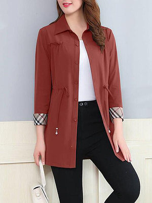 Fold Over Collar Drawstring Plain Cuffed Sleeve Trench Coat, 5264654