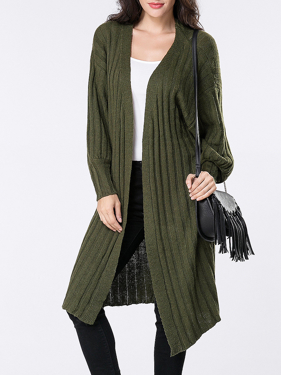 Collarless Longline Plain Ribbed Cardigan