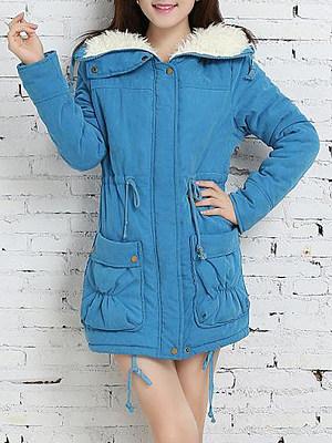 Faux Fur Collar Plain Coat, 8922808