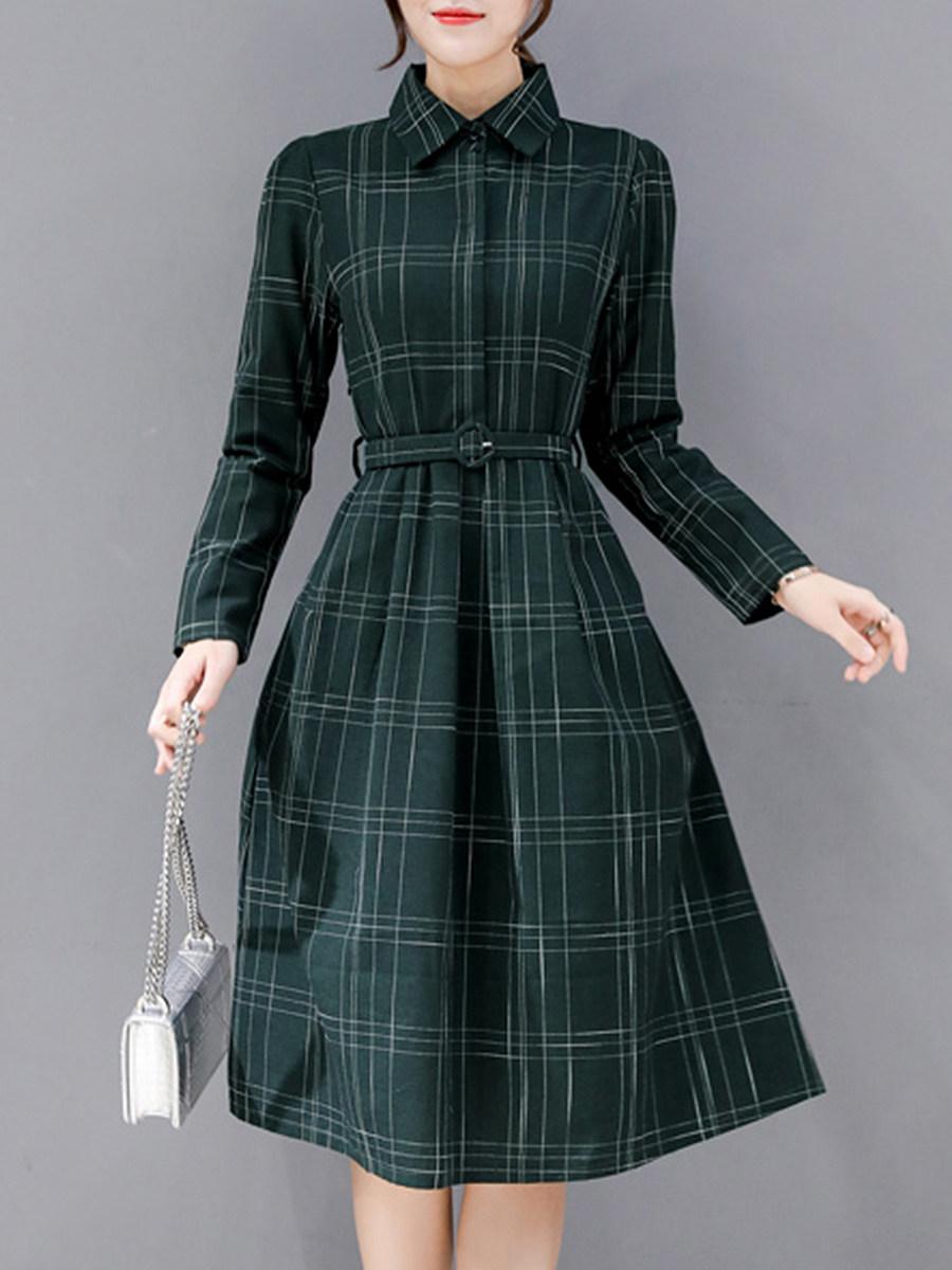 Fold-Over Collar Plaid Skater Dress