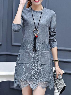 Round Neck Decorative Lace Patch Pocket Plain Polyester Shift Dress, 4086448