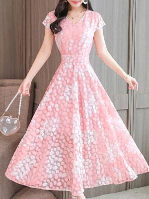 V Neck Print Maxi Dress