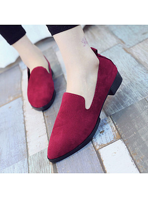 Plain Flat Velvet Point Toe Date Comfort Flats, 4939871