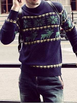 Купить Crew Neck Reindeer Snowflake Men'S Sweater