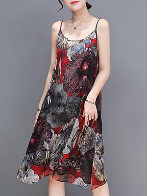 BERRYLOOK / Spaghetti Strap  Print Maxi Dress