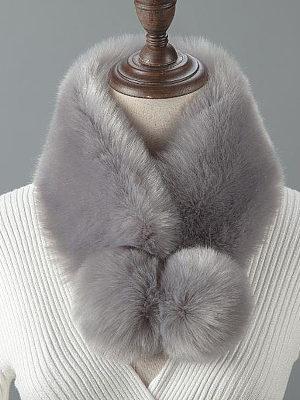 Fashion Bobble Faux Fur Collar Wrap Scarf, 3955048