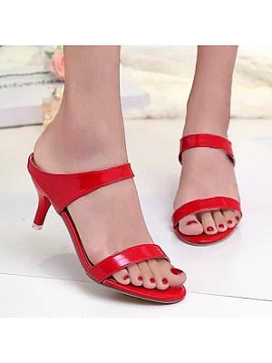 Plain  Stiletto  High Heeled  Peep Toe  Date Sandals