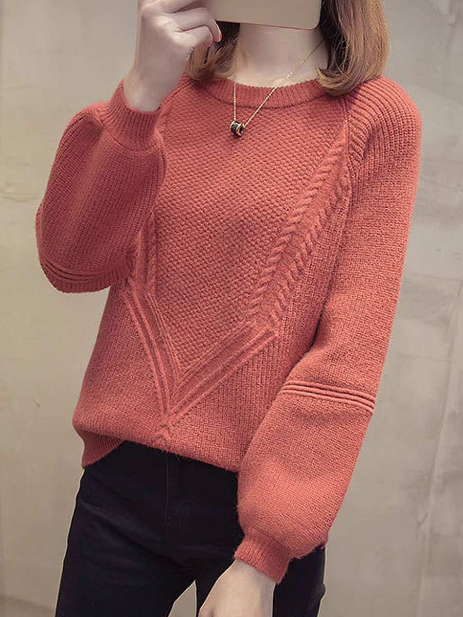 BerryLook Round  Neck  Patchwork  Brief  Plain  Long Sleeve Knit Pullover
